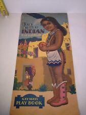 "Cut 1944 Samuel Lowe Paper Dolls 15""  Indian Silver Cloud & Blue Feather"