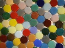 18 mm Round Recycled Glass Mosaic Tiles - 50 Tiles - Mixed Colors - 4 mm thick