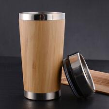 Coffee Mugs Stainless Steel Travel Tea Cup Natural Wood Mug Tumbler Camping
