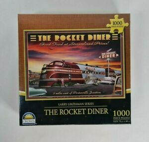 New - The Rocket Diner Jigsaw Puzzle Art Larry Grossman Series 1000 Pieces Crown