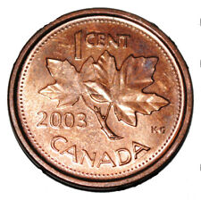 Canada 2003 Old Effigy 1 Cent Zinc One Canadian Penny Coin Non Magnetic Crowned