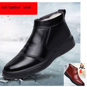 Men's100% real leather casual shoes pure wool boots outdoor fleece warm winter