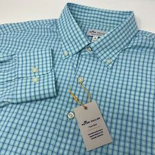 Peter Millar Crown Sport Mens Shirt XL Blue Green Turquoise Check