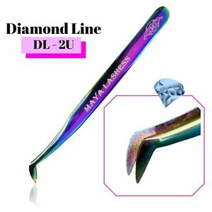 Individual Eyelashes Extension Tweezers 🦩 Diamond Dust Fanning Curved 3D 15D