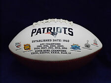 New England Patriots NFL White Football - BRAND NEW With all 5 Super Bowl logos!