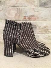 NIB Chanel 14B Black White Pony Fur Chain Around Short Ankle Heel Boot 41 $2100