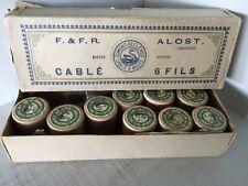 Vintage -antique thread on woorden spools  in original box F &F.R  Alost
