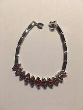 Round Cut Garnet Gemstone STERLING  Silver PLATED Bangle Bracelet-B355