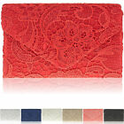 New Floral Lace Ladies Envelope Clutch Bag Satin Women Evening Party Prom Bridal