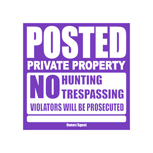 """Private Property No Trespassing Tyvek Signs 11"""" x 11"""""""