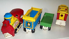 Vintage 1973 Fisher Price Little People Circus Train Engine and Cars Model 991