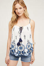 Anthropologie Farren Swing Tank Top Tryb Embroidery Floral Blouse NWT Large Sz L