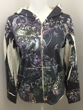 Lucky 66 Brand Womans Gray Multi Graphic Butterfly Zip Hoodie Sweater Size Large