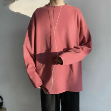 Men Solid T-shirt Tops Undershirt Crew Neck Long Sleeve Casual Loose Autumn SPW
