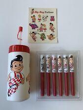 Vintage Big Boy Bob's Burgers Item Lot: Water Bottle, Tattoos, Pens Bundle
