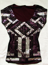 BEBE MAROON SILVER BLACK SEQUIN BEADED SHIRT TOP NEW SMALL S