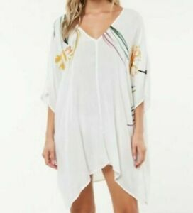 O'Neill Tessa Swimsuit Cover Up Stripe V Neck White Oat NEW X-Small Small XS/S