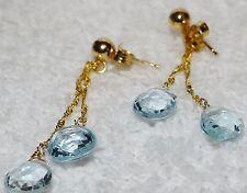 14 Kt pierced dangle aquamarine earrings, pierced 585, RCI