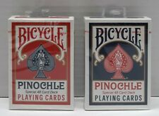 (2)Decks of Bicycle Pinochle Playing Cards Special 48 Card Deck 1-Red 1-Blue NEW