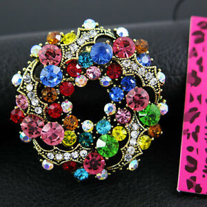 Betsey Johnson Multi-color Rhinestone Brooch Pin Prong Set Colorful Sparkly