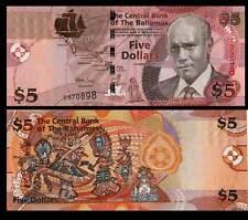 BAHAMAS BANKNOTE 5 DOLLARS 2007 FIOR DI STAMPA BANCONOTA UNC MOLTO COLORATA