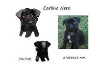 Llavero Piel Auténtica Cuero Unisex Razas Perros Pug Negro