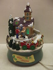 Matrix White Christmas Church Scene Horse Sleigh Ride Music Box Animated Lighted