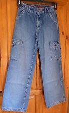 UNION BAY * Wide Leg Cargo JEANS 2 Waist; 3 Cargo Pockets 26 X 27.5 Girl Size 10