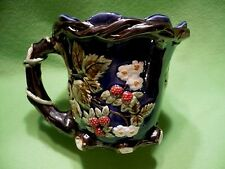 Nouveau Majolica pitcher with Raspberries, Blossoms & Vines. Beautiful coloring