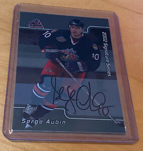 """NHL 2001-02 In the Game """"Signature Series"""" Columbus Blue Jackets SERGE AUBIN"""