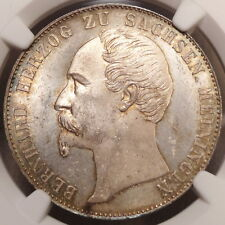 Saxe-Meiningen Taler 1859, Original Choice Uncirculated NGC MS-63, RARE. Pop Top