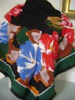 """French Actress Estate-Guy Laroche Paris Huge SILK Scarf 35"""" Abstract Floral"""