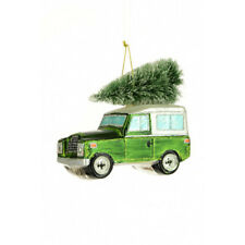 Land Rover With Christmas Tree Hanging Ornament Green 12cm
