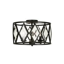Home Decorators Collection 16 in. 3-Light Bronze Prismatic Glass Flush Mount