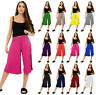 Ladies Women's 3/4 Length Short Palazzo Trousers Causal Wide Leg Culottes Pants