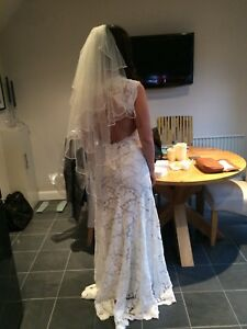 monique lhuillier Scarlet Wedding Dress Size US 12 Uk 8-10 Cost Originally £5500