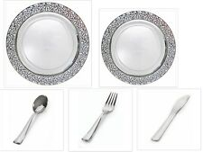 White w/Silver Lace China-like Plastic Plates Cutlery Set 500 Pieces Wedding
