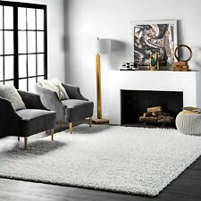 nuLOOM New Contemporary Modern Plush Shag Area Rug in Solid Soft White