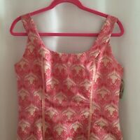 Vintage Fit & Flare Sleeveless Dress Size 12 Pink & Light Tan Floral Medallion