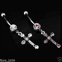 Piercing Nombril, raffiné étincelante croix cristal rose, blanc bijoux fantaisie