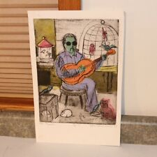 Mid Century Mod Wood Block Print - The Maestro - Signed Helen Schoenheilder 7/8