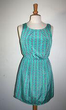 NEW Womens DEJAVU Mint Green Bird Print Sleeveless Flare Dress Medium M NWT
