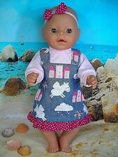 """Dolls clothes for 17"""" Baby Born doll~UNICORNS ~CASTLES~PINAFORE~TOP~HAIR BOW"""