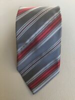 Recent Ermenegildo Zegna Grey with Red Striped Silk Tie Made in Italy