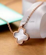 "Fashion Elegant White Flower ""Four-leaf Lucky Clover"" Gold GP Pendant Necklace"