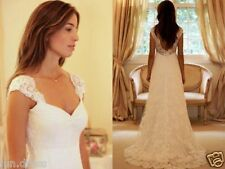 Simple A Line White/Ivory Lace Wedding Dress Ruched Wedding Dress Custom Made