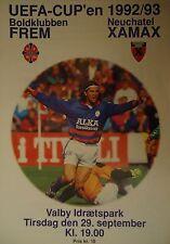 Programma UEFA CUP 1992/93 Boldklubben Set-Xamax Neuchatel