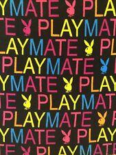 PLAYBOY Playmate HTF Logo Black Pink Yellow Blue Fleece 49x60 Bunny BLANKET