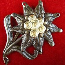 ORIGINAL CURRENT GERMAN ARMY EDELWEISS MOUNTAIN HUNTER BERET BADGE MEDAL   -01