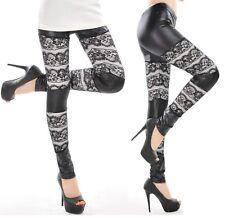 Sz XS S 6 8 10 Sexy Black White Wetlook Lace Leggings Tight Pants Women Fashion